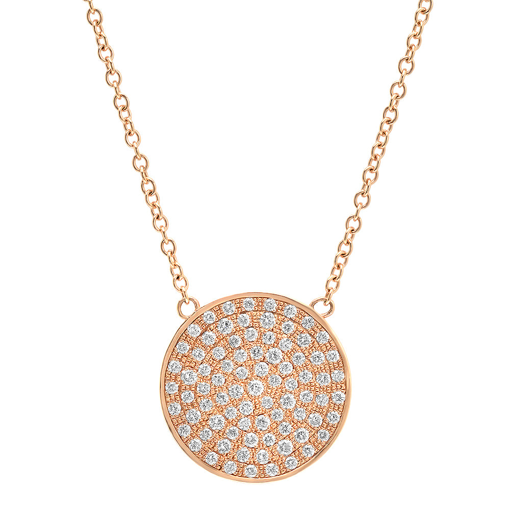 14K Diamond Disc Necklace