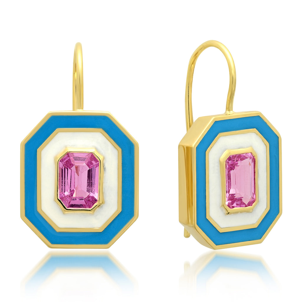 18K YG Garland Pink Sapphire Enamel Earrings