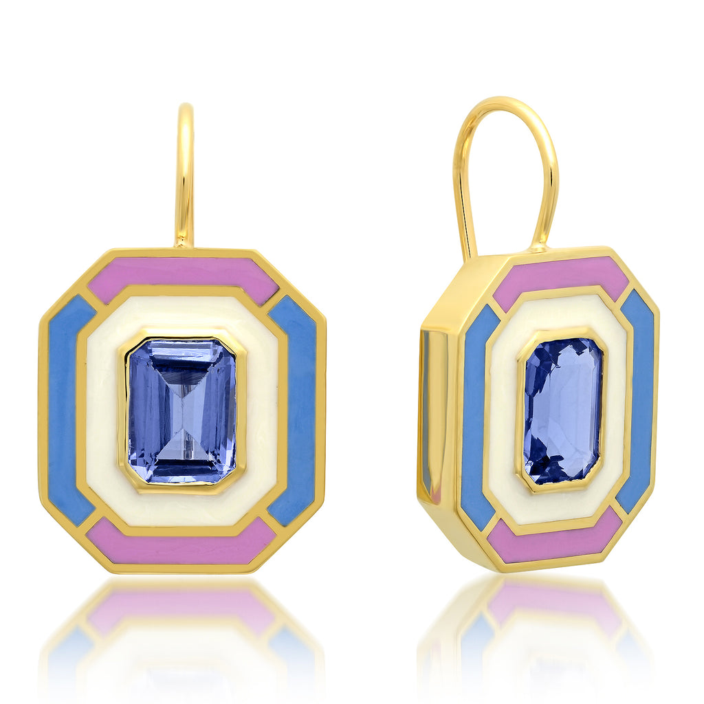 18K YG Dietrich Tanzanite Enamel Earrings