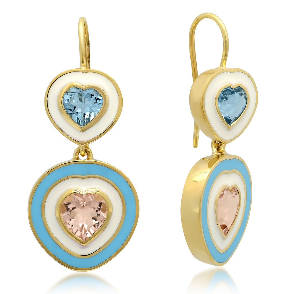 18K YG Gabor Aquamarine and Morganite Hearts Enamel Earrings