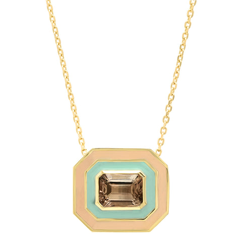 18K YG Bacall Tourmaline Enamel Necklace