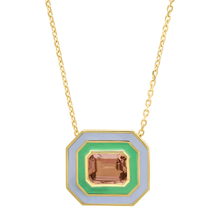 18K YG Turner Tourmaline Enamel Necklace