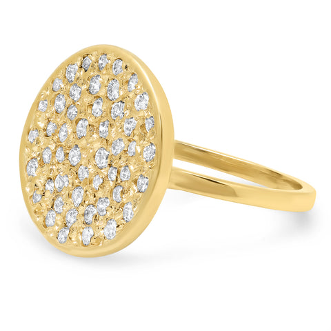 14K Round Diamond Disc Ring