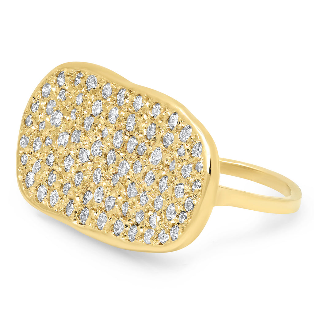 14K Oval Diamond Disc Ring