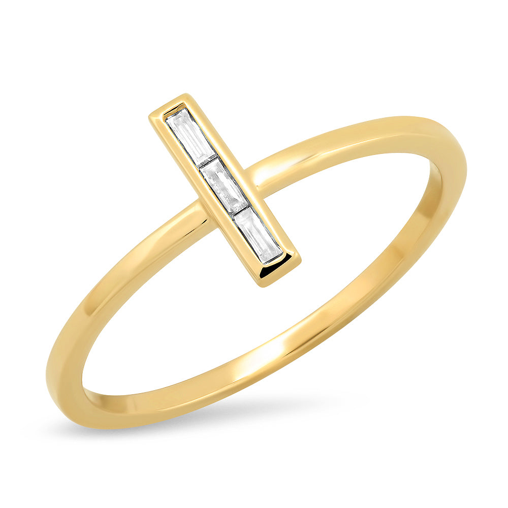 14K Hera Baguette Diamond Bar Ring