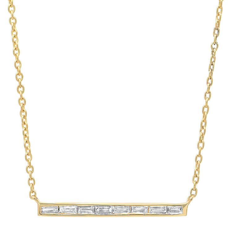 14K Athena Diamond Baguette Bar Necklace