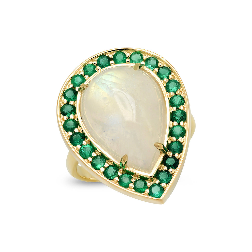 14K YG Rainbow Moonstone and Emerald Ring