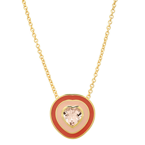 18K YG Dandridge Morganite Heart Enamel Necklace