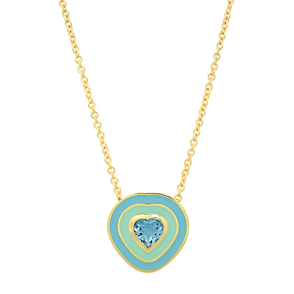 18K YG Dandridge Aquamarine Heart Enamel Necklace