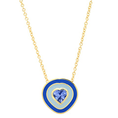 18K YG Dandridge Tanzanite Heart Enamel Necklace