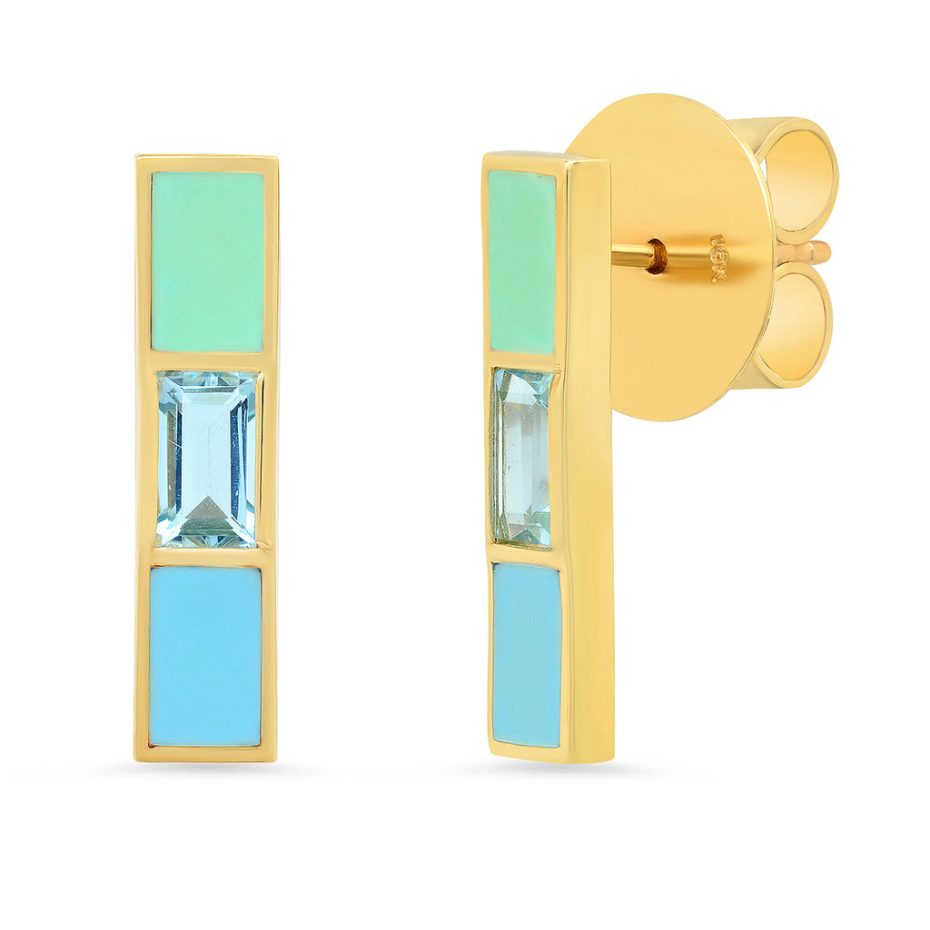 18K Channing Aquamarine Baguette Enamel Stick Earrings