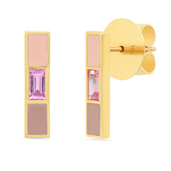 18K Channing Pink Sapphire Baguette Enamel Stick Earrings