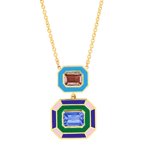 18K YG Hepburn Pink Tourmaline and Tanzanite Enamel Necklace