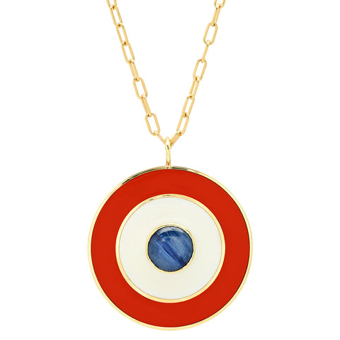 18K YG Dunaway Kyanite Enamel Medallion Necklace