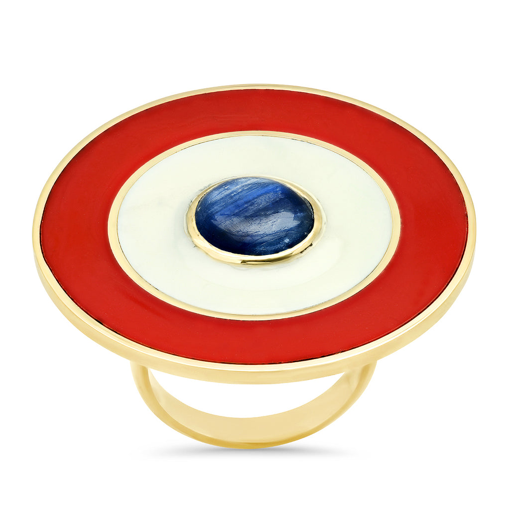 18K YG Russell Kyanite Enamel Medallion Ring