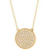 14K Small Diamond Disc Necklace