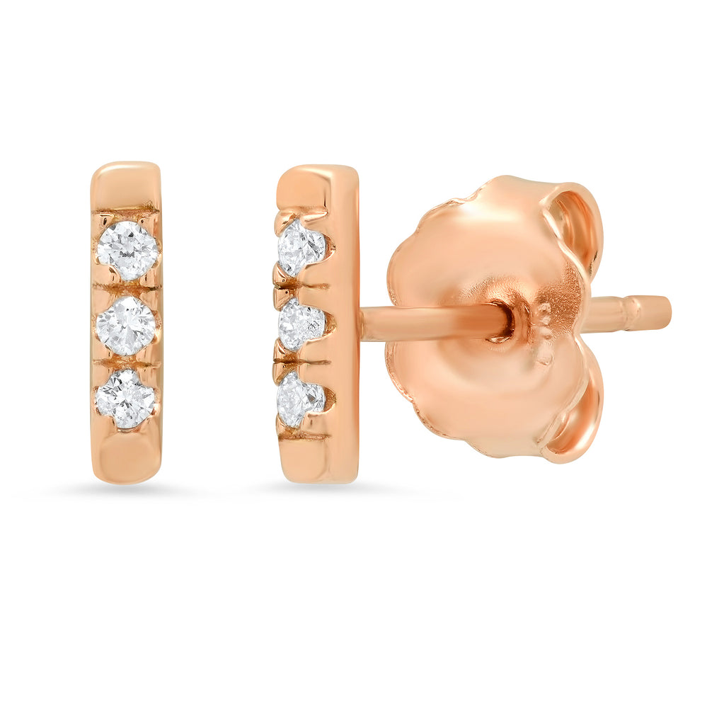 14K YG Diamond Bar studs