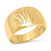 14K YG Monogram Cigar Band ring