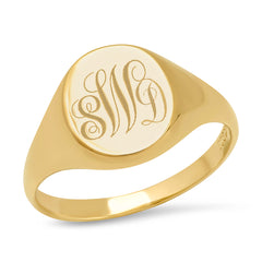 14K YG Monogram Signet Ring