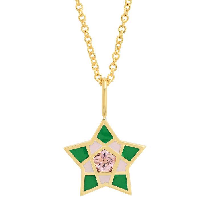 18K YG Kerr Spinel Star Enamel Necklace