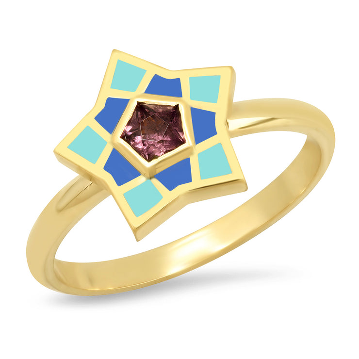18K YG Kerr Spinel Star Enamel Ring