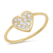 14K Diamond Heart Ring