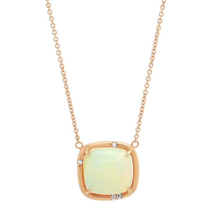 14K RG Opal and Diamond Necklace