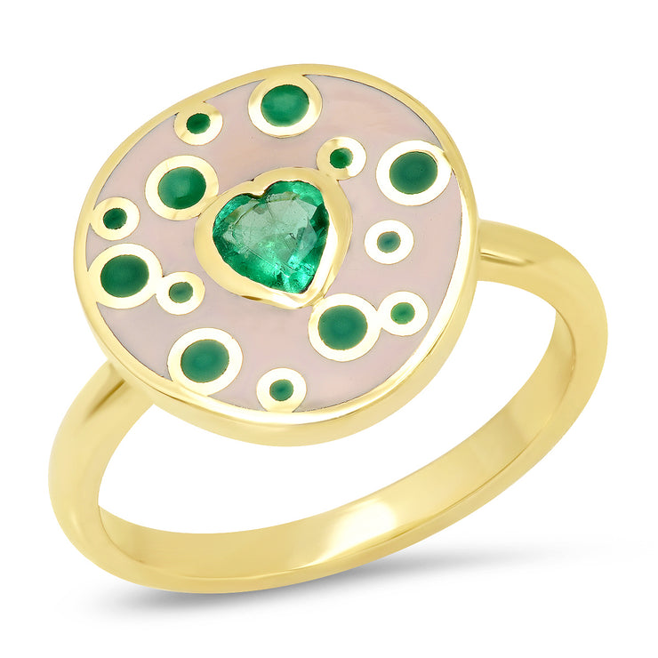 18K YG Fontaine Emerald Heart Enamel Ring