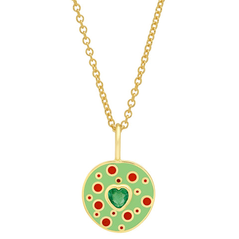 18K YG Fontaine Emerald Heart Enamel Necklace