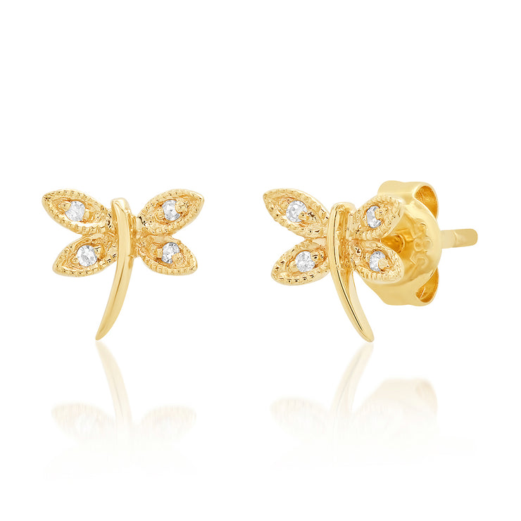 14K Diamond Dragonfly Studs