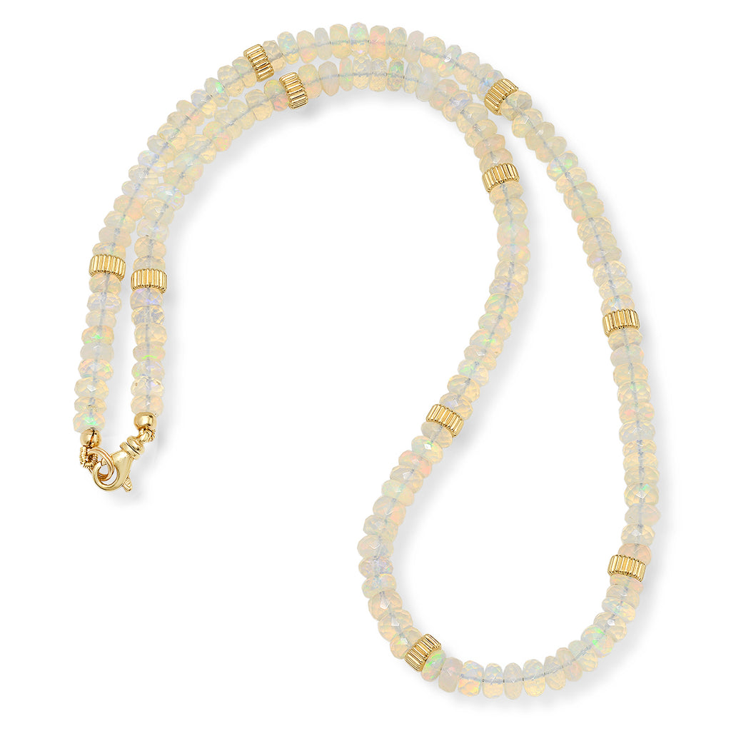 14K Opal And Gold Bead Necklace