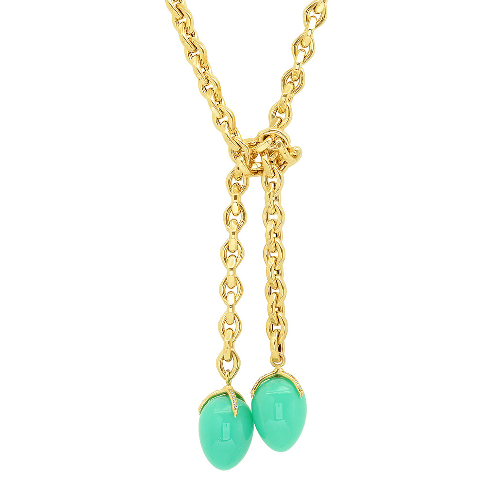 14K YG Chrysoprase Diamond Claw Tie Wrap Lariat