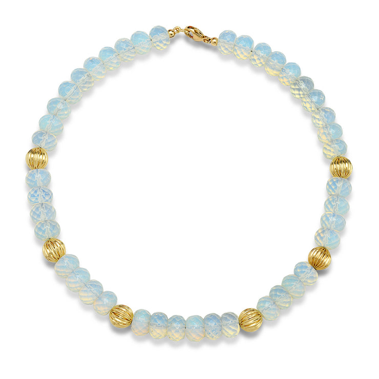 14K YG Gold and Opalite Bead Necklace
