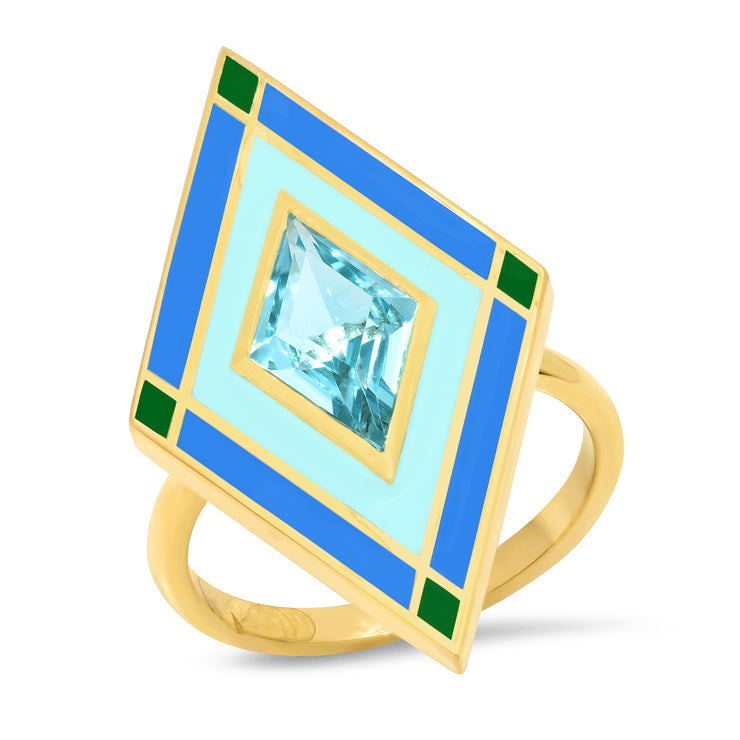 18K YG Barclay Aquamarine Enamel Ring