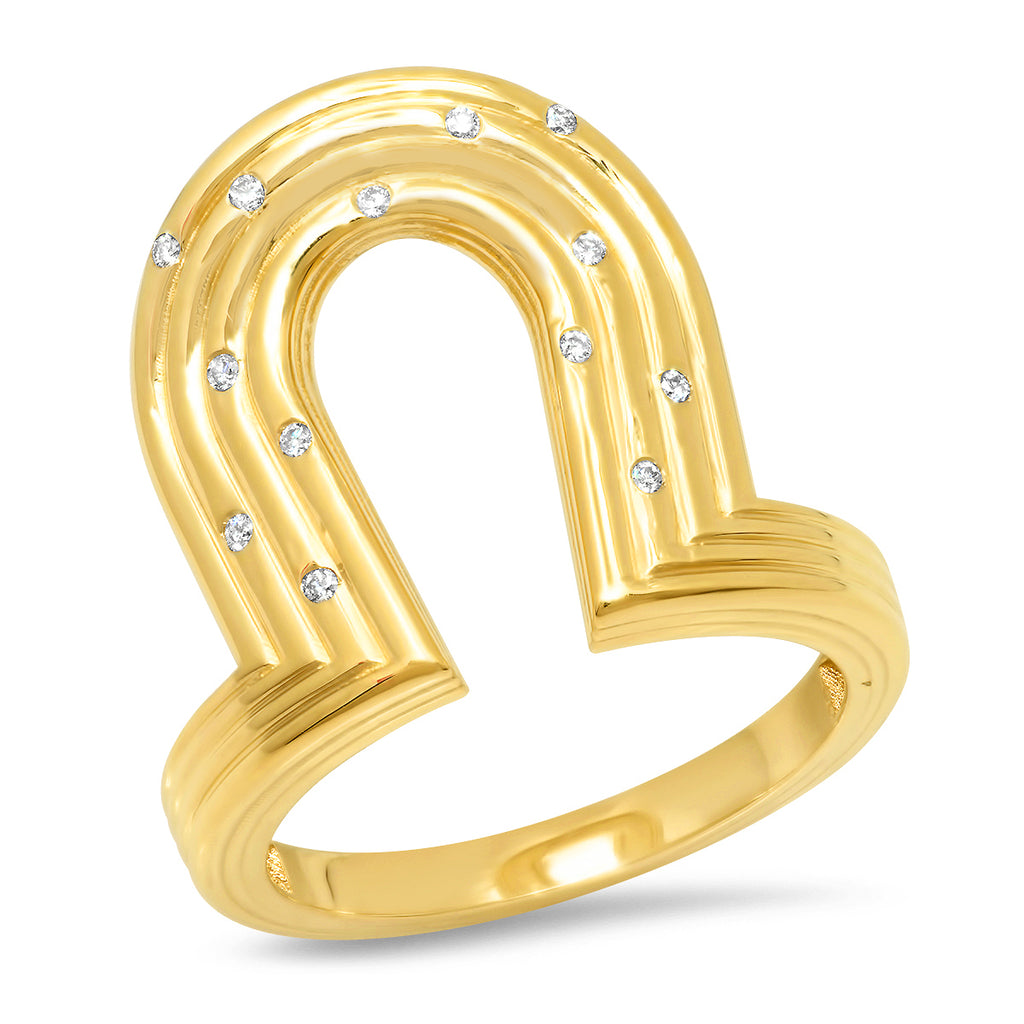 18K YG Reeded Gold and Diamond Manifest Ring