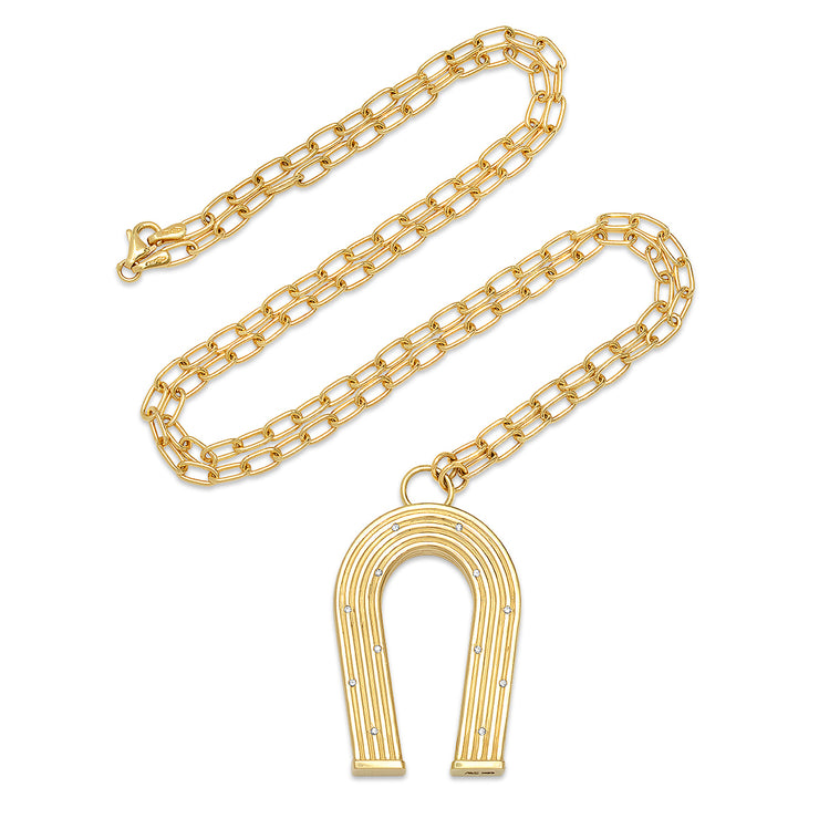18K YG Reeded Gold and Diamonds Manifest Necklace