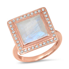 14K Moonstone and Diamond Ring