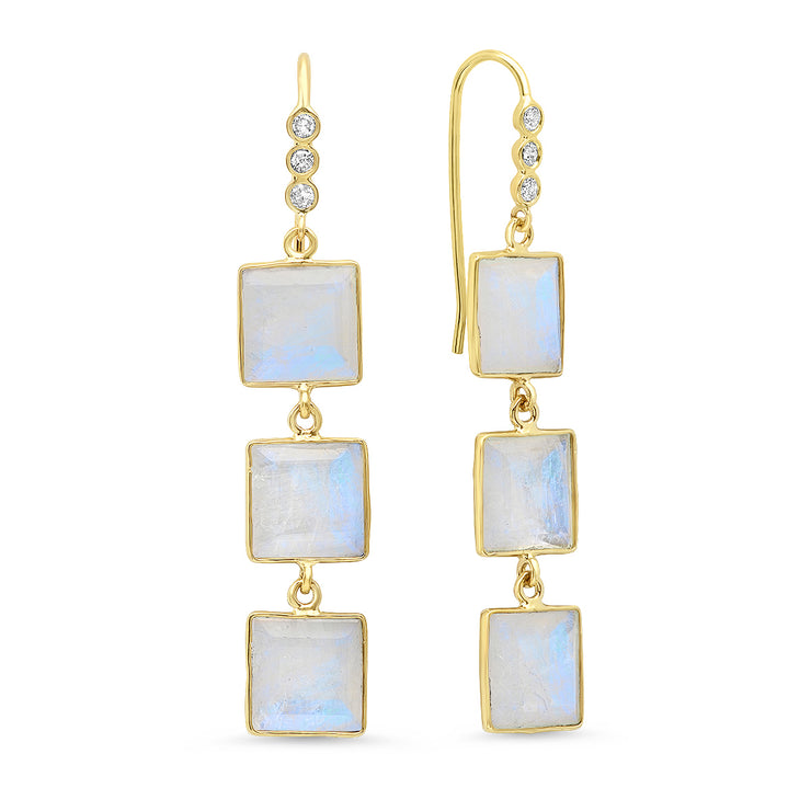 14K YG Bezel Set Moonstone Diamond Earrings