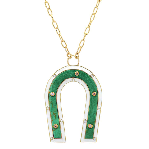 18K YG Turquoise Enamel Diamond Manifest Necklace