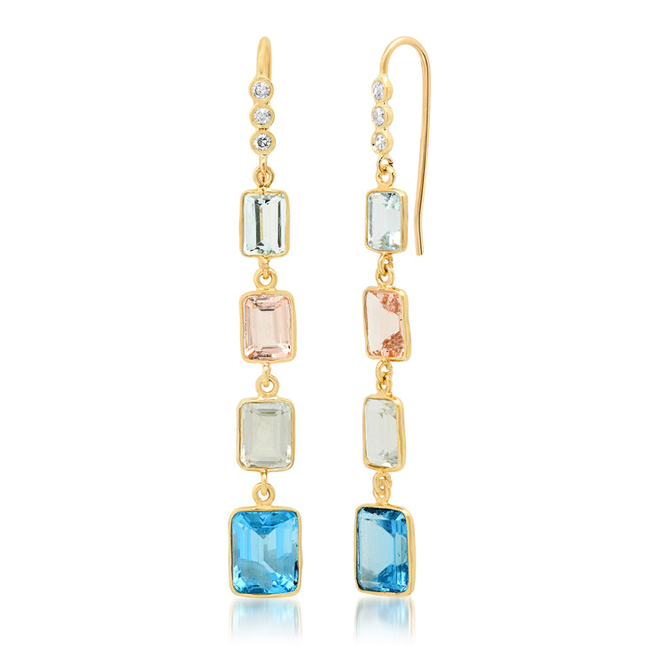 14K YG Aquamarine, Morganite, Green Amethyst, Topaz and Diamond Earrings