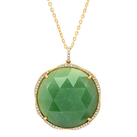 14K YG Aventurine and Diamond Necklace