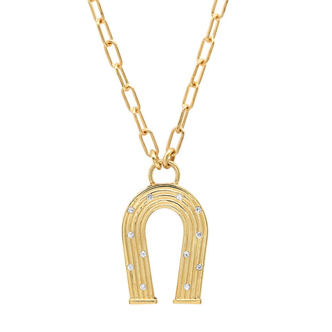 18K YG Mini Reeded Gold and Diamonds Manifest Necklace