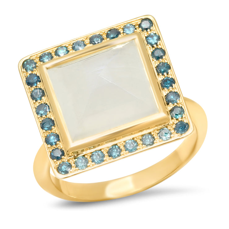 14K YG Moonstone and Blue Diamond Ring