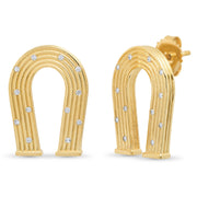 18K YG Reeded Gold and Diamond Manifest Earrings