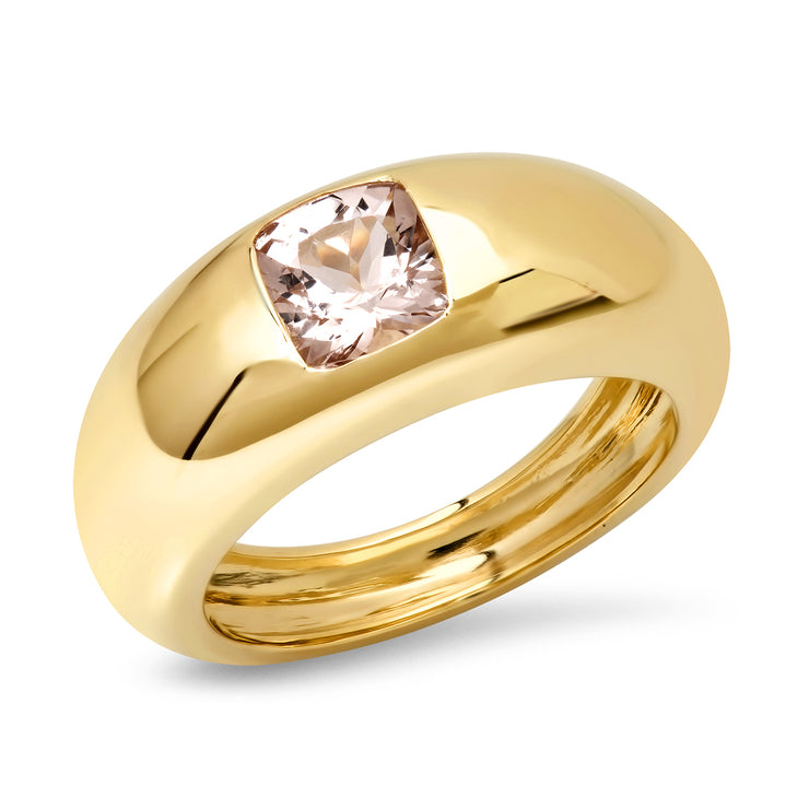 14K YG Morganite Gypsy Dome Ring