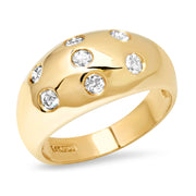 14K YG 7 Diamond Gypsy Dome Ring
