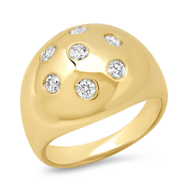 14K Dome Diamond Ring