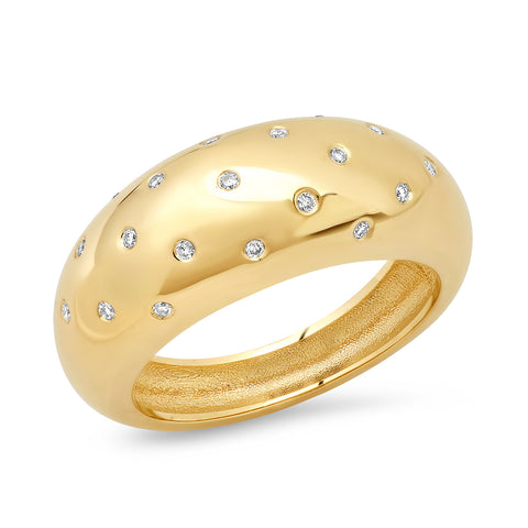 14K YG 19 Diamond Gypsy Dome Ring