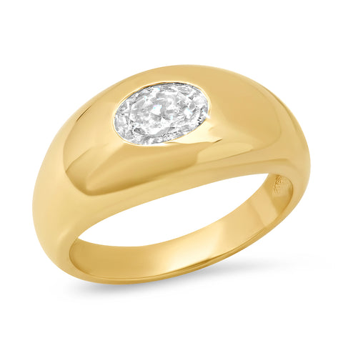 14K YG Oval Diamond Gypsy Ring
