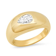 14K YG Pear Diamond Gypsy Ring